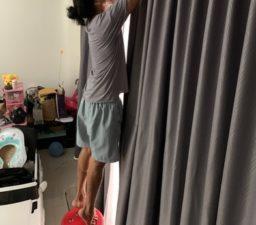 งานติดตั้งผ้าม่านที่ซักแล้ว ร้านซักผ้าม่าน พระราม 2